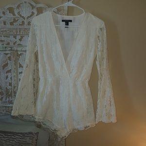 Cream lace Romper for Spring .